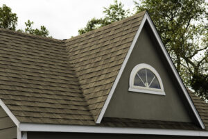 Close-up image of a home with a brown asphalt shingle roof. It has an A-frame architectural accent with a half-circle window.
